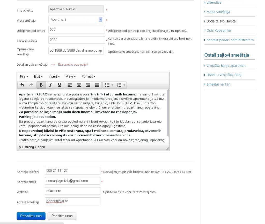 Goč - postavljanje oglasa - uputstvo slika 1.2
